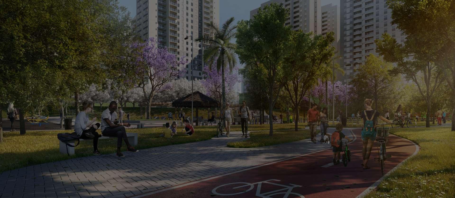 Imagem de ciclovia com árvores no fundo e pessoas caminhando